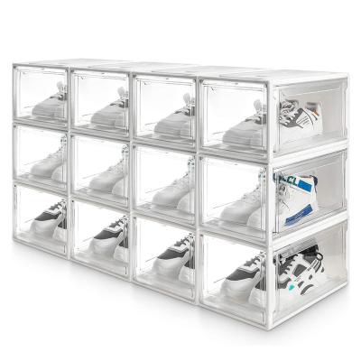 12 x Super Transparent Shoe Box, Stackable Shoe Storage Organiser Boxes, black & white