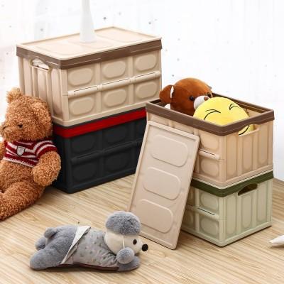 Yorbay faltbare Aufbewahrungsbox 2er Set aus Kunststoff, Klappbox mit Deckel - Schwarz / Grün / Hellbraun / Grau