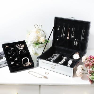 Seelux Schmuckkästchen aus Glas, Schmuckkoffer für Halsketten, Ringe, Ohrringe, Uhren, Luxus Sternenhimmel-Serie Schmuckschatulle