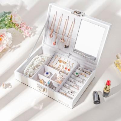 Schmuckschatulle mit Spiegel und Schloss für Ringe, Ohrringe, Halskette, weiß