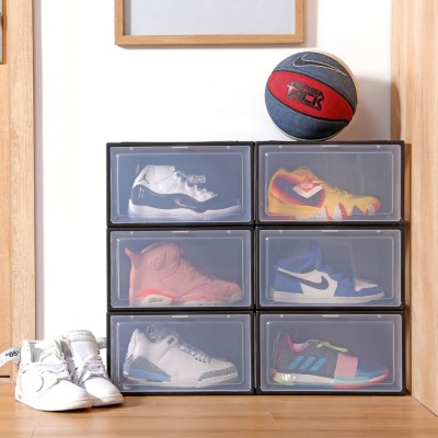 Yorbay Shoe Box 3pcs, stackable Shoe Organisers Plastic, clear sneakers storage cases Transparent