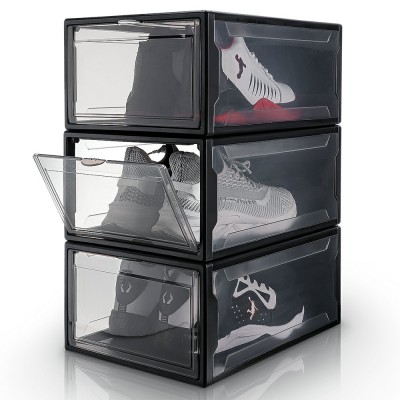 Yorbay Drop front shoe box clear, sneakers storage cases set of 3, white, black