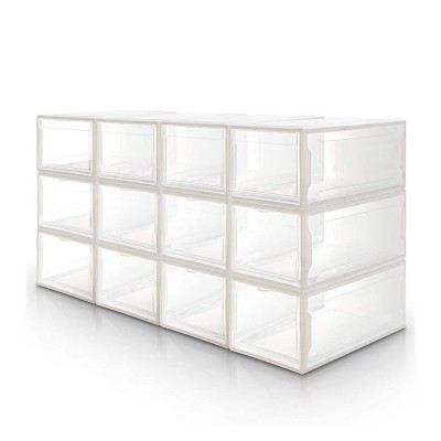 Shoe Box Set of 12, stackable Shoe Organizer for Shoes up to size 48, white
