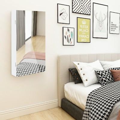 Hängend Schmuckschrank mit Ganzkörperspiegel für Türmontage und Wandmontage, abschließbarer   Spiegelschrank Weiß in 67x37x10cm