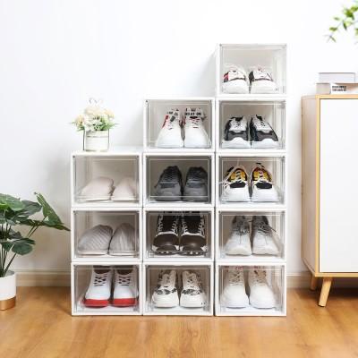 Super Transparent Shoe Box, pack of 3 Stackable Shoe Storage Organiser Boxes, black & white