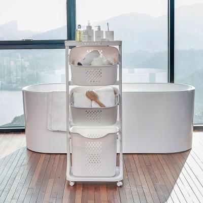 Large laundry baskets, 4-layers Plastic Laundry Hamper, wash basket wheels Handle shelf 82L, 109*33*44 cm
