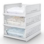 Yorbay stapelbare Schubladenbox, Kleiderschrank Organizer 3er Set, Schrankkorb für Kleidung Küchen Schlafzimmer, Weiß