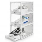 Shoe Boxes Set of 3, Drawer Type Plastic Shoe Organiser (white, L)