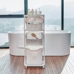 Wäschesammler Badwagen auf Rollen 4 Fächer, mobile Wäschesortierer in Beige mit Wäschekorb, 109*33*44 cm
