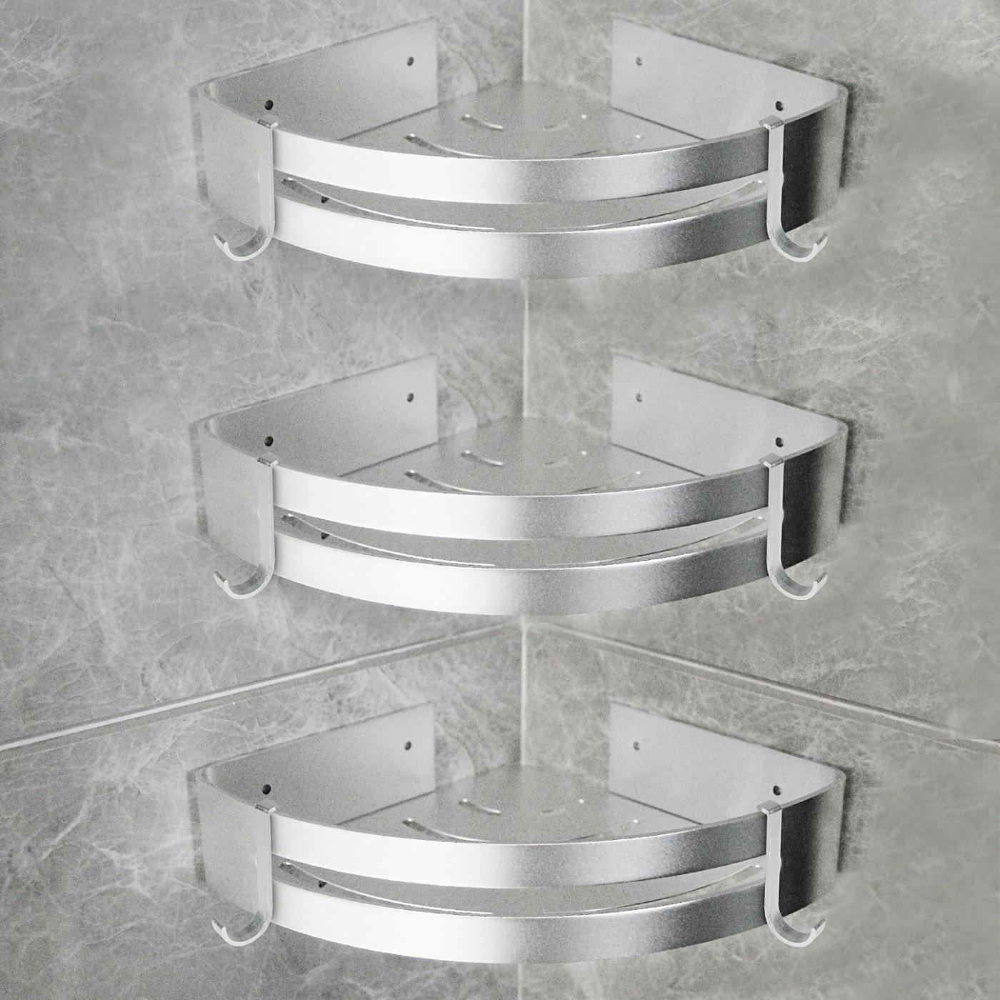 20 Stücke Duschregal aus Aluminium in silber, Badezimmer Eckregal ...