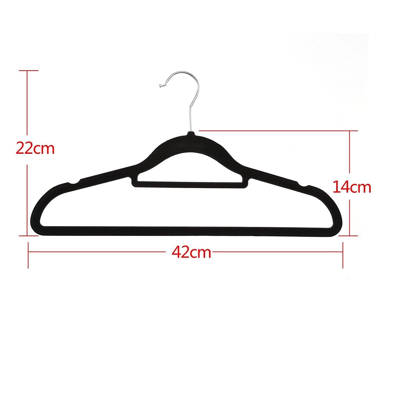 Yorbay 20 Stück Kleiderbügel Anzugbügel aus Samt, Schwarz, für ...