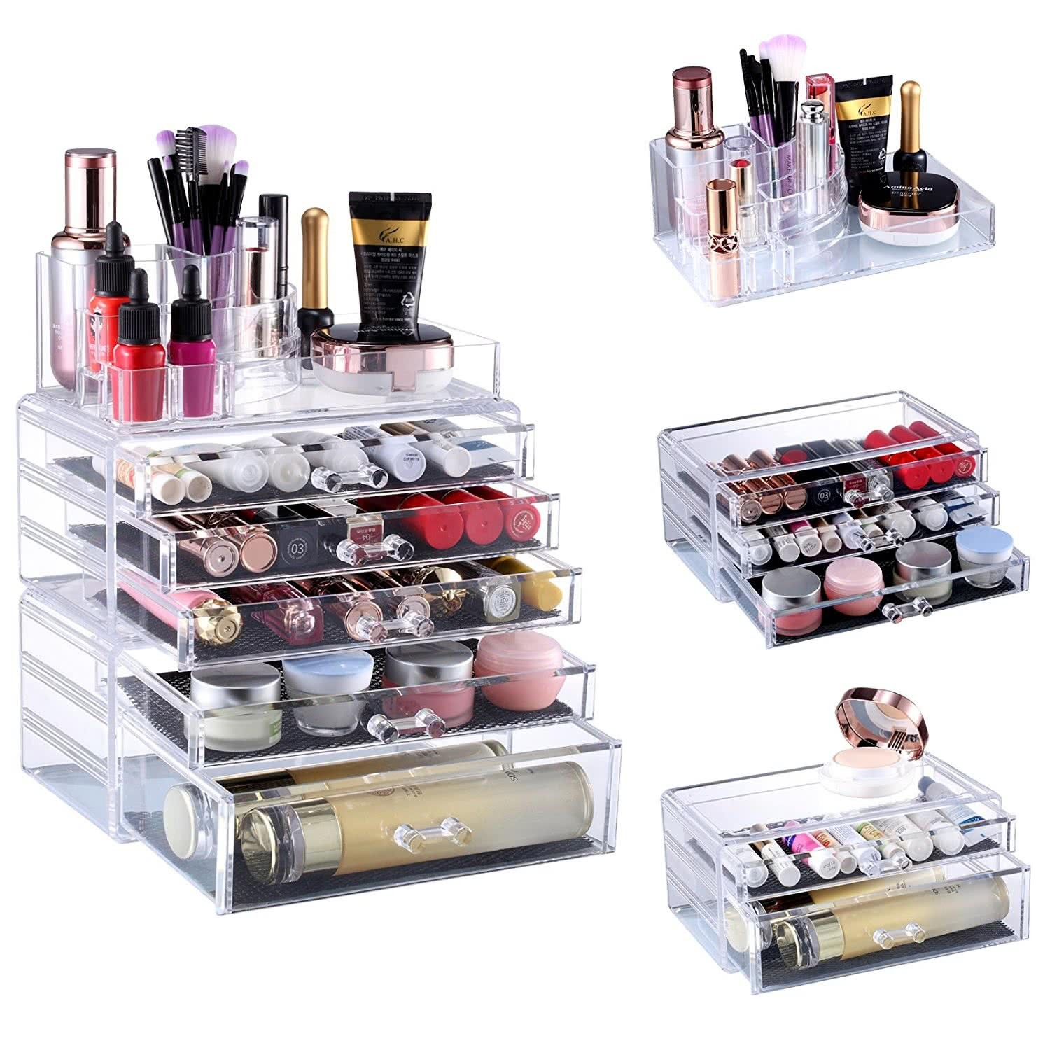 seelux acryl kosmetik make up aufbewahrung organizer mit schubladen und abteile. Black Bedroom Furniture Sets. Home Design Ideas
