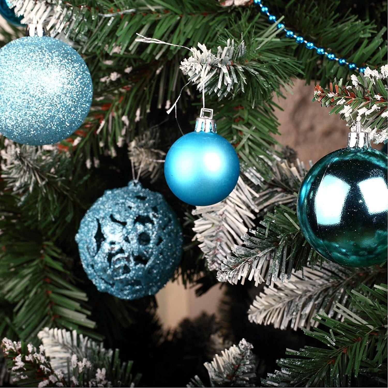 Christbaumkugeln Kunststoff Blau.Weihnachtskugeln Christbaumkugeln Set Inklusive Perlenkette Und