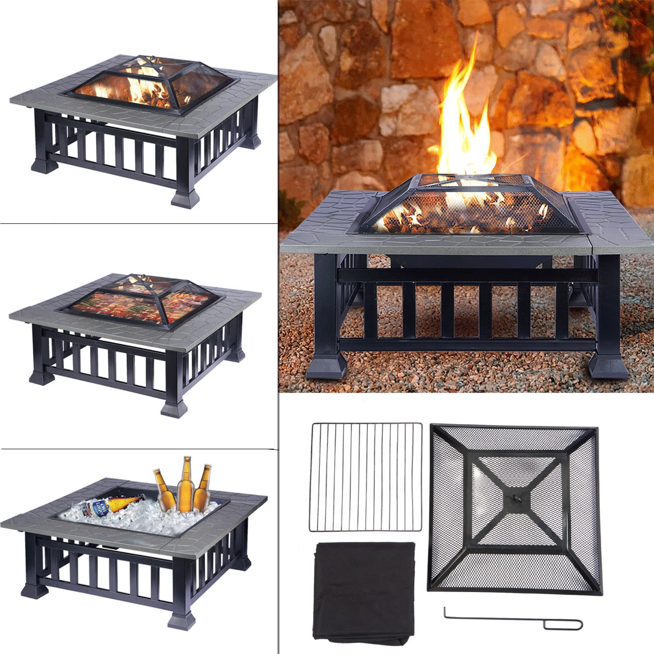 feuerschale multifunktional feuerstelle fire pit f r heizung bbq garten terrasse quadratisch. Black Bedroom Furniture Sets. Home Design Ideas