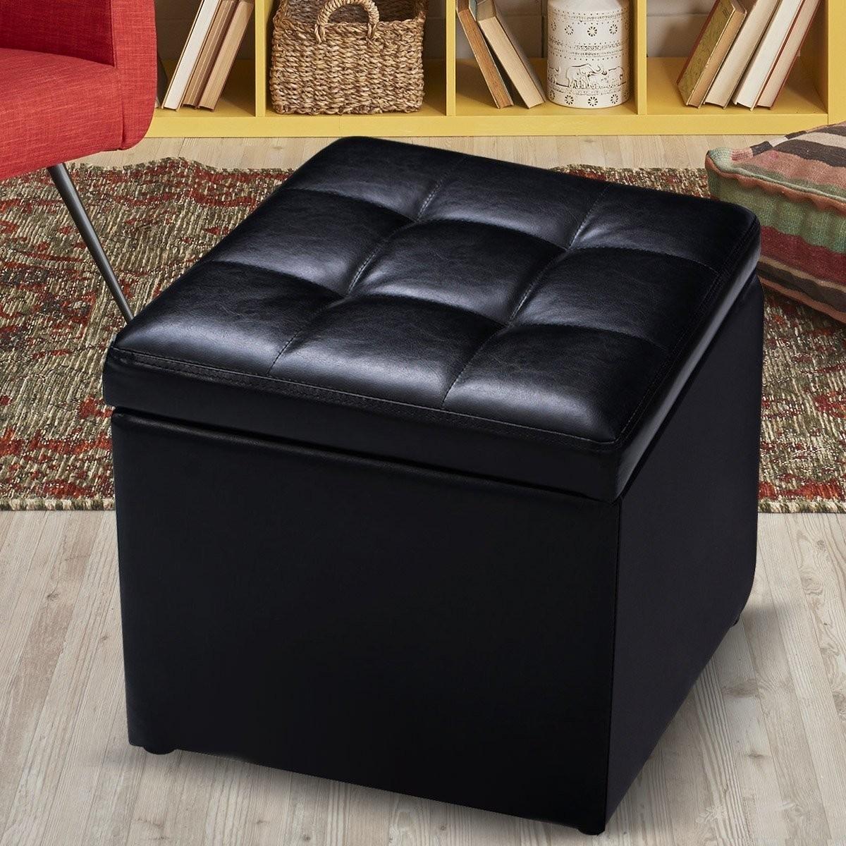 Sitzhocker aus PU-Leder mit Stauraum in schwarz / braun für ...