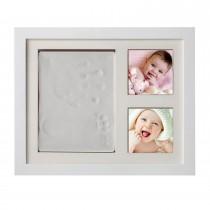 Baby DIY Handabdruck Fußabdruck Bilderrahmen Set mit schadstofffreiem Lehm