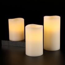 3er Set LED Kerzen Warmweiß mit Fernbedienung & Timerfunktion, Echtwachskerzen für Weihnachten Hochzeit Geburtstag Party Restaurants Schlafzimmer