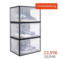 Yorbay Schuhbox aus Kunststoff 3er Set, transparente Drop front shoe boxen  für Sneaker Sammlung, stapelbarer Schuhorganizer *(Vorbestellung, lieferbar um 27.08.2020)