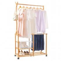 Kleiderständer aus Bambus mit Rollen, Garderobenständer mit Kleiderstange, Haken und verschiebbarer Ablage