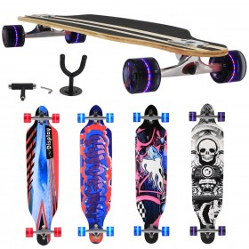 "41"" LED Longboard DROP THROUGH Skateboard, LED Rollen, mit T-Tool und Wandhalter"