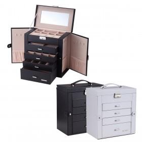 Leder Schmuckkoffer Schmuckkasten mit Spiegel, Fünf Fächern und Seitenklappen, schwarz, weiß