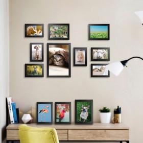 Bilderrahmen 12er Set  zum Austellen oder zum Aufhängen, Fotorahmen mit Bildabdeckung aus Plexiglas Foto Collage