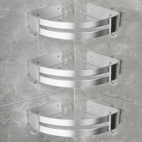 3 Stücke Duschregal aus Aluminium in silber, Badezimmer Eckregal für Duschkabine