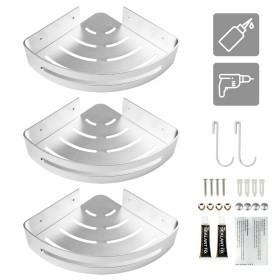 3 Stücke Dreieckskorb aus Aluminium in silber, Badezimmer Eckregal für Duschkabine