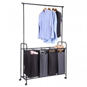 Wäschewagen mit Kleiderstange 4 Fächern auf Rollen