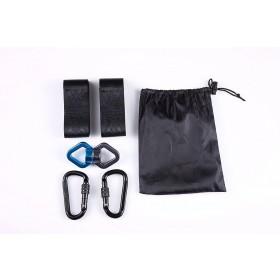 Befestigungs-Set Aufhängeset für Hängematte Schaukel Hanging Gurt Kit (Schwarz Karabinerhaken+Dreiecksringe)