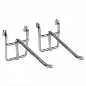 Haken B x 2, Zubehöre für Standregal Küchenregal Metallregal aus Verchromten Metall,Kleiderhaken, Handtuchhaken