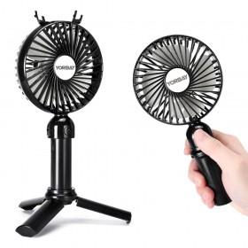 Yorbay Handventilator mit 3 Geschwindigkeit, USB Ventilator 2600mAh Aufladbarem Batterie, Mini Lüftermit mit Ständer und Handyhalterung