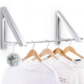 Klappbar Wand-Kleiderständer mit Kleiderstange, ohne Bohrung Montage, Wandgarderobe aus Aluminium, silber