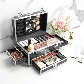 Kosmetikkoffer aus ALU, Beautycase abschießbar in schwarz für Make-up Kosmetik Nagellack, 25,5 x 16 x 16,7cm
