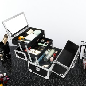 Kosmetikkoffer mit Spiegel und Tragegurt, Friseurkoffer schwarz abschließbar für Nageldesign