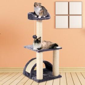 Yorbay Kratzbaum Katzenbaum für Katzen Haustier, Dunkelblau,mit Kratzbogen