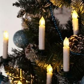 20er Set Weihnachtskerzen wasserdicht kabellose Warmweiß LED Kerzen, dimmbar mit Fernbedienung, Adventskerzen