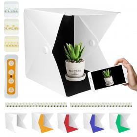 beleuchtetes Mini-Fotostudio, 40x40x40cm Lichtzelt mit LED Beleuchtung und 6 Hintergrundpapier für Fotografie