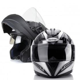 Motorradhelm Integralhelm Doppelvisier mit integrierter Sonnerblende S M L XL