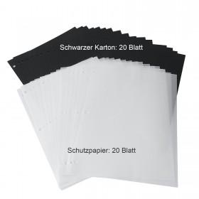 Scrapbooking Papier für DIY Fotoalbum Gästebuch 23x28cm zum selbstgestalten (Schwarze Nachfüll Seiten+ Weißes Pergamentpapier)
