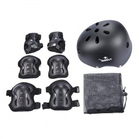 Skateboard Protektoren Set mit Helmet, 6 stk.Knee Pads Elbow Pads, Handgelenkschoner
