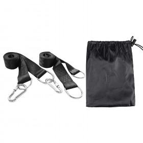 Befestigungs-Set Aufhängeset für Hängematte Schaukel Hanging Gurt Kit (Silber Karabinerhaken)