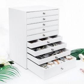 Seelux XL Schmuckkoffer mit 9 Schubladen, Schmuckkästchen aus Kunstleder für Ringe, Halsketten, Ohrringe, Uhren