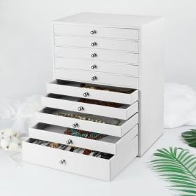 Seelux Schmuckkoffer mit 10 Schubladen, Schmuckkästchen aus PU-Leder in weiß mit großen Stauraum