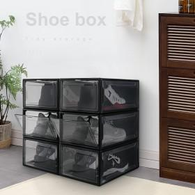 Yorbay Schuhbox aus Kunststoff 3er Set, Drop-Front-Boxen für Sneaker Aufbewahrung, stapelbarer Aufbewahrungsboxen