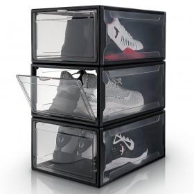 3er Set Drop-Front-Boxen, schwarz S, Schuhbox aus Kunststoff für Sneaker Aufbewahrung, stapelbarer Aufbewahrungsboxen-Black-S