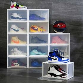 Yorbay Schuhbox aus Kunststoff 3er Set, transparente Aufbewahrungsboxen, stapelbarer Schuhorganizer