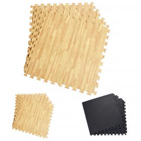 12 Stück Schutzmatten Set Bodenschutzmatte Fitnessmatte Gymnastikmatte für Bodenschutz (schwarz / holzfarbe)