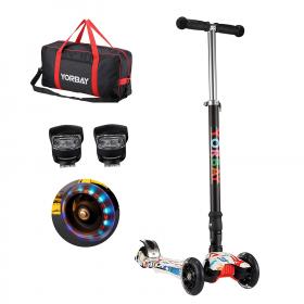 Klappbar Kinder Scooter Roller mit LED Rollen(Graffiti Weiß)