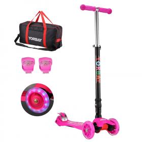 Klappbar Kinder Scooter Roller mit LED Rollen(Pink)
